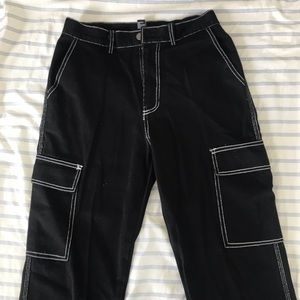 Black Wide Leg Jeans with White Stitching